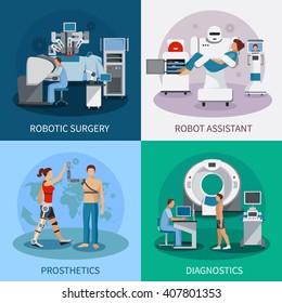 Bionic 2x2 design concept with robotic surgery  diagnostic equipment orthopedic prosthetics compositions flat vector illustration