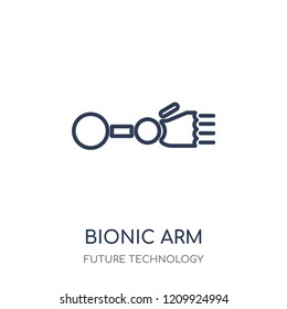 Bionic arm icon. Bionic arm linear symbol design from Future technology collection.
