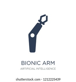 Bionic arm icon. Trendy flat vector Bionic arm icon on white background from Artificial Intelligence, Future Technology collection, vector illustration can be use for web and mobile, eps10