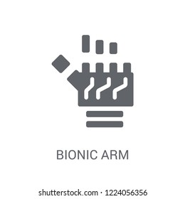 Bionic arm icon. Trendy Bionic arm logo concept on white background from Artificial Intelligence collection. Suitable for use on web apps, mobile apps and print media.