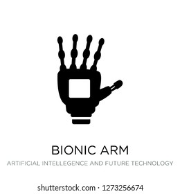 bionic arm icon vector on white background, bionic arm trendy filled icons from Artificial intellegence and future technology collection, bionic arm simple element illustration