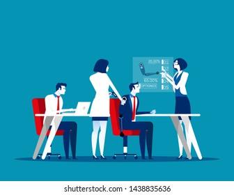 Bionic Arm technology. Concept business cartoon vector illustration, Artificial hand, Science lab, Future medicine. Flat business cartoon design.