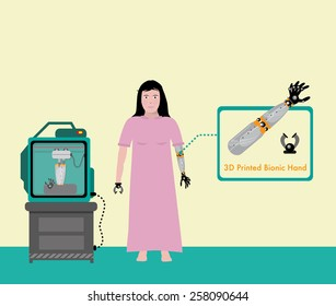 Bionic Arms and Hand 3D Printing. Woman with Disability is Equipped with Artificial Limbs Fresh from 3D Machine. Editable Vector EPS10 Illustration.