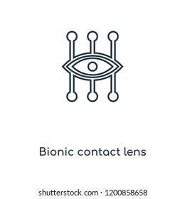 Bionic contact lens concept line icon. Linear Bionic contact lens concept outline symbol design. This simple element illustration can be used for web and mobile UI/UX.