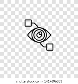 bionic contact lens icon from crowdfunding collection for mobile concept and web apps icon. Transparent outline, thin line bionic contact lens icon for website design and mobile, app development