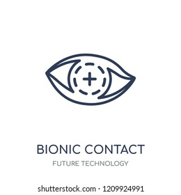 Bionic contact lens icon. Bionic contact lens linear symbol design from Future technology collection.