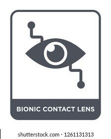 bionic contact lens icon vector on white background, bionic contact lens trendy filled icons from Crowdfunding collection, bionic contact lens simple element illustration