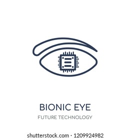Bionic eye icon. Bionic eye linear symbol design from Future technology collection.