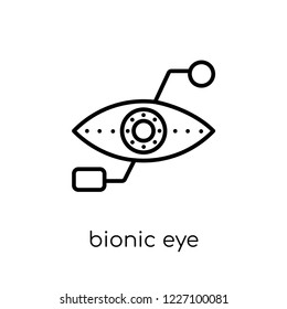 bionic eye icon. Trendy modern flat linear vector bionic eye icon on white background from thin line Artificial Intelligence, Future Technology collection, outline vector illustration