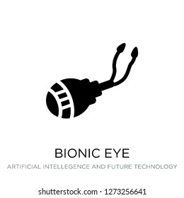 bionic eye icon vector on white background, bionic eye trendy filled icons from Artificial intellegence and future technology collection, bionic eye simple element illustration