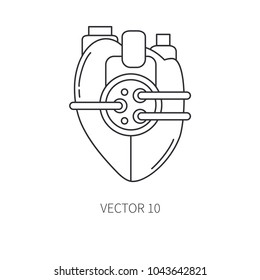 Bionic heart prosthesis line icon. Bionic prosthesis. Biotechnology futuristic medicine. Future technology. Medical artificial mechanical robot implant sign and symbol. Transplantation. Amputee.
