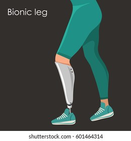 Bionic leg, prosthesis limb. Vector isolated illustration.