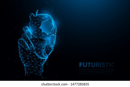 Bionic medical hand prosthesis, holding bite of apple. Metallic robot arm internal human. Future technology concept