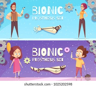 Bionic prosthesis banners collection with horizontal compositions of gear images editable text and human characters vector illustration