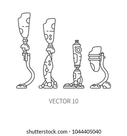 Bionic robot leg prosthesis line icon set. Bionic prosthesis limb. Biotechnology futuristic medicine. Future technology. Medical artificial mechanical cyborg implant sign and symbol. Transplantation.