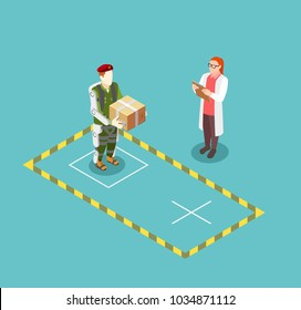 Bionics technology design concept demonstrating  functionality of robotic exoskeleton using patient lifting box  isometric vector illustration