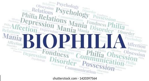 Biophilia word cloud. Type of Philia.