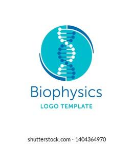 Biophysics logo template - symmetrical circular scientist emblem with DNA chain - vector logotype
