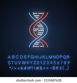 Biophysics neon light icon. Genetics research. DNA helix molecule structure. Biotechnological, genetical engineering. Glowing sign with alphabet, numbers and symbols. Vector isolated illustration