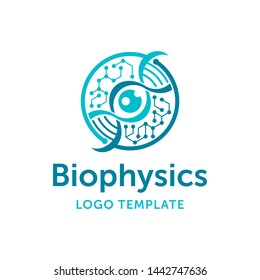 Biophysics science research institute logo template - symmetrical circular emblem with DNA chain and chrystall molecular cell - vector logotype