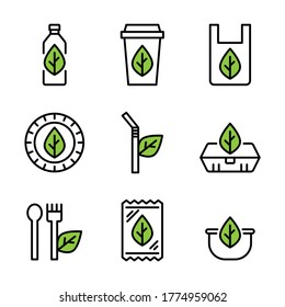 Bioplastic products, bottle, cup, shopping bag, plate or dish, straw, food box, spoon and fork, snack bag and bowl with green leaf icon set. Isolate on white background.