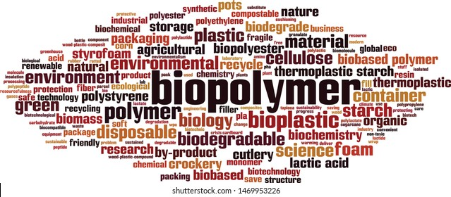 Biopolymer word cloud concept. Collage made of words about biopolymer. Vector illustration