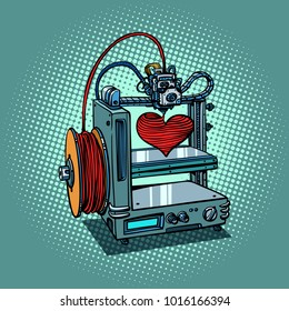 bioprinter prints love heart 3D printer manufacturing. Valentines day and holidays. Comic book cartoon pop art retro illustration vector