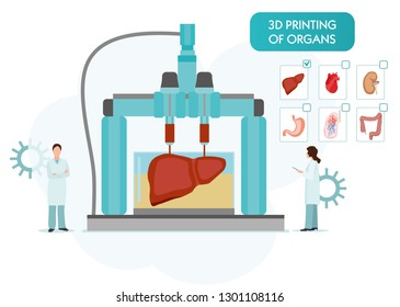 Bioprinting concept, 3D printing of the liver, stomach, lungs, kidneys and heart. scientists with 3D printer. Colorful vector illustration in flat cartoon style.