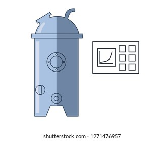 Bioreactor with control panel. Flat vector set. Isolated on white.