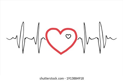 Biorhythm of the heart of a person in love in the form of a cardiogram