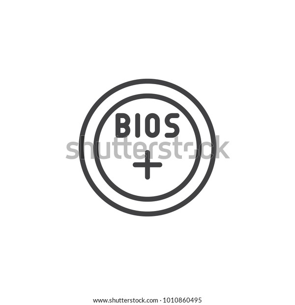Bios Battery Line Icon Outline Vector Stock Vector (Royalty Free