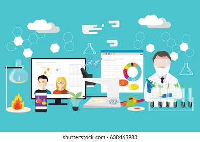 Bioscience concept set. Microbiologist studying new virus or its antidote cultivating a petri dish whit inoculation loops, beside a microscope and tools of laboratory. - stock vector