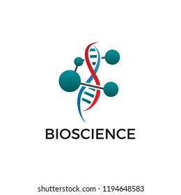 Bioscience logo vector. Template icon with molecul atom and dna.