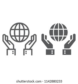 Biosphere conservation line and glyph icon, ecology and energy, hands holding earth sign, vector graphics, a linear pattern on a white background, eps 10.