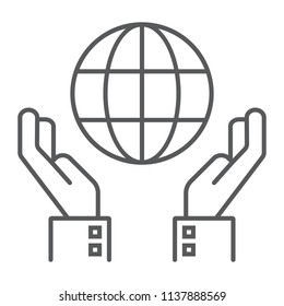 Biosphere conservation thin line icon, ecology and energy, hands holding earth sign, vector graphics, a linear pattern on a white background, eps 10.