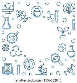 Biotech linear frame. Vector Biotechnology illustration in outline style on white background