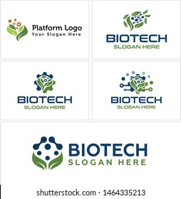 Biotech logo design leaf gear and molecule vector suitable for technology platform farming nature organic