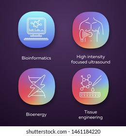 Biotechnology app icons set. Bioengineering. HIFU bioinformatics, tissue engineering, bioenergy. UI/UX user interface. Web or mobile applications. Vector isolated illustrations