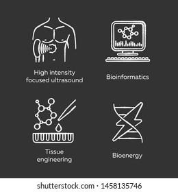 Biotechnology chalk icons set. Bioengineering. HIFU, bioinformatics, tissue engineering, bioenergy. Technologies for studying and treatment. Isolated vector chalkboard illustrations