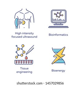 Biotechnology color icons set. Bioengineering. High intensity focused ultrasound, bioinformatics, tissue engineering, bioenergy. Technologies for studying and treatment. Isolated vector illustrations