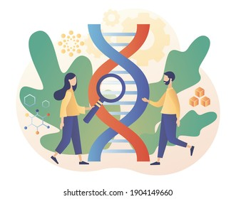 Biotechnology concept. Science, laboratory research,  genetic testing, chemical, GMO, bioengineering and organism. Tiny people study dna use microscope. Modern flat cartoon style. Vector illustration