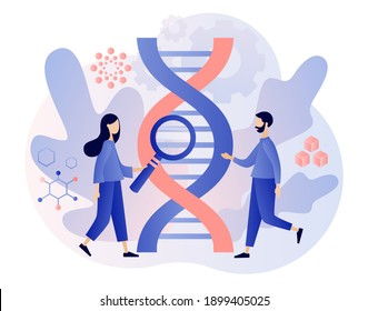 Biotechnology concept. Tiny people study dna use microscope. Science, laboratory research,  genetic testing, chemical, GMO, bioengineering and organism. Modern flat cartoon style. Vector illustration