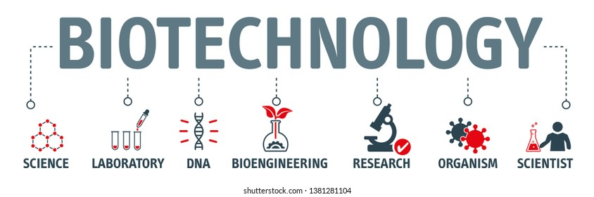 Biotechnology concept Vector Illustration. Horizontal banner. Contains icons bioengineering, DNA, Research, Science, laboratory