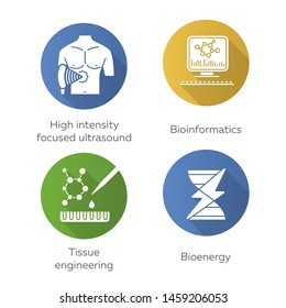 Biotechnology flat design long shadow glyph icons set. Bioengineering. High intensity focused ultrasound, bioinformatics, tissue engineering, bioenergy. Vector silhouette illustration