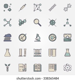 Biotechnology icons - vector DNA, molecules, flasks and other laboratory tool icons