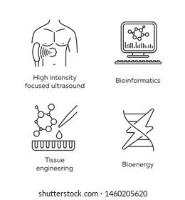 Biotechnology linear icons set. Bioengineering. HIFU, bioinformatics, tissue engineering, bioenergy. Thin line contour symbols. Isolated vector outline illustrations. Editable stroke