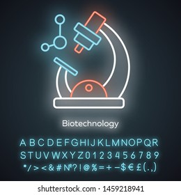 Biotechnology neon light icon. Biotech. Molecular biology. Microscope and molecule. Laboratory research. Biochemistry. Glowing sign with alphabet, numbers and symbols. Vector isolated illustration