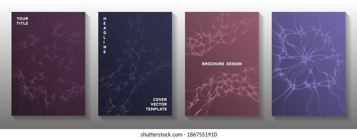 Biotechnology and neuroscience vector covers with neuron cells structure. Overlapping curve lines blend backdrops. Subtle notebook vector layouts. Anatomy, biology, medicine covers.