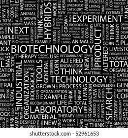 BIOTECHNOLOGY. Seamless vector background. Wordcloud illustration.