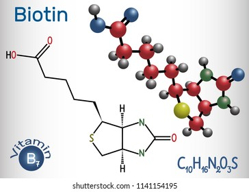 Biotin (vitamin B7). Structural chemical formula and molecule model. Vector illustration